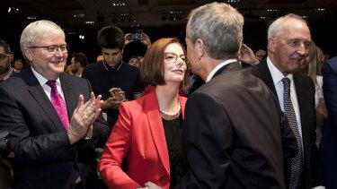 Bill Shorten welcomes former Labor PMs Kevin Rudd, Julia Gillard and Paul Keating ahead of the launch.