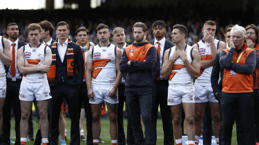 Giants players and officials come to terms with their AFL grand final defeat.