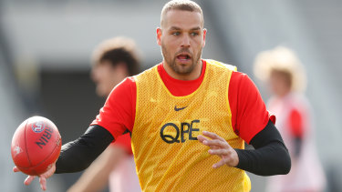 Lance Franklin at training in Melbourne on Tuesday.