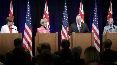 US Secretary of State Mike Pompeo, second from right, speaks at a 2018 Australia-US Ministerial press conference.