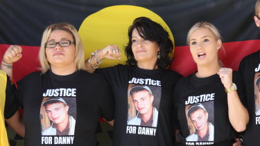 Danny Whitton's sister Michaela House, mother Kylie Knight and sister Nikita House stand outside the NSW Coroners Court on Friday.