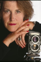 Fiona Adams with the Rolleiflex camera she used to take the Beatles photo.