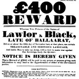 Reward poster  for Peter Lalor (misspelt), and newspaper editor George Black.