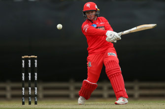 On song: Jess Duffin of the Renegades bats during the WBBL match between the Hobart Hurricanes and Melbourne.