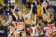 Giants goal shooter Jo Harten in action against Sunshine Coast Lightning.
