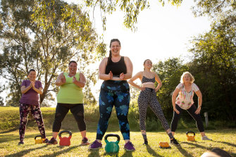 A photo from VicHealth's This Girl Can campaign, featuring trainer Natasha Korbut (centre).