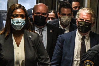 New York Attorney-General Letitia James and Cyrus Vance, Manhattan district attorney, walk to the courtroom.