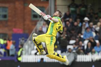 Happy returns: Australia's David Warner celebrates his ODI World Cup century against Pakistan.