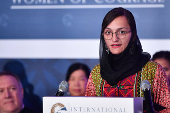 Zarifa Ghafari of Afghanistan speaks  during the annual International Women of Courage (IWOC) Awards ceremony at the State Department in Washington in 2020.