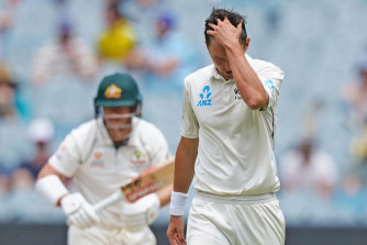 Injured: Black Cap Trent Boult on day three of the Boxing Day Test.