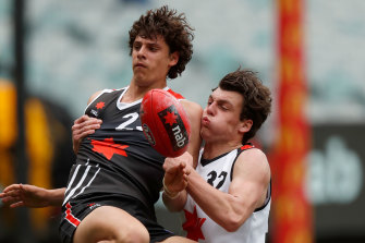 Jackson Callow (right) in action in the 2019 NAB League All-Stars match.