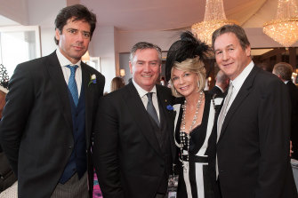 Jeff Browne (right), pictured with AFL CEO Gillon McLachlan, then Collingwood president Eddie McGuire and Browne's wife Rhonda Wyllie.