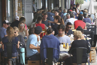 Patrons enjoy the cafes at Bronte Beach on Sunday.