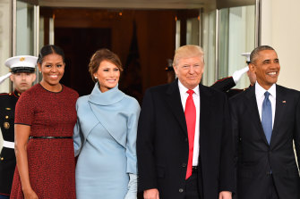 Michelle Obama, left, and Barack Obama, right, welcomed Melania and Donald Trump to the White House for Trump's inauguration in 2017.