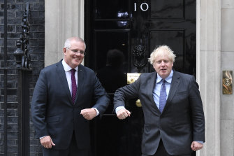 """Prime Minister Scott Morrison's push to """"preferably"""" get to net zero emissions by 2050 is out of step with leaders like UK Prime Minister Boris Johnson."""