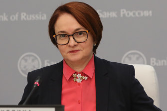Elvira Nabiullina, governor of Russia's central bank, speaks during a news conference.