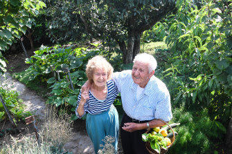 Gregory and Maria Lekatsas in their garden. National data reveals that about 50 per cent of Victorians aren't eating enough fruit.
