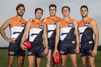 The new GWS Giants leadership group, minus captain Stephen Coniglio. (From left) Matt De Boer, Toby Greene, Jeremy Cameron, Lachie Whitfield and Josh Kelly.