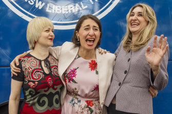 Gladys Berejiklian with her sisters Rita and Mary on the last day of the election campaign last year.