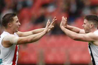 Jack Higgins celebrates a goal.