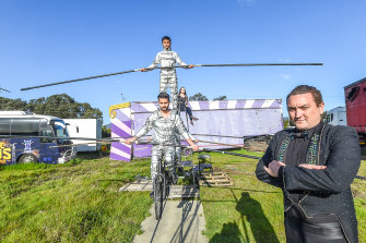 Owner and ringmaster Damian Syred with the high wire act.