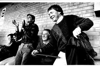 Manly men ... Max Krilich, Terry Randall, Alan Thompson, Ken Arthurson and Bob Fulton in 1986.
