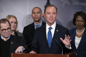 Adam Schiff, with other House Democratic impeachment managers, speaks about the impeachment trial of President Donald Trump on Saturday.