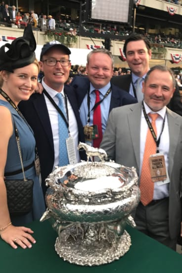 Justifiably proud: SF Bloodstock team Katie Ryan, Tom Ryan, Henry Field, Mick Flanagan and Gavin Murphy with the Belmont Stakes trophy.