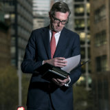 NSW Treasurer Dominic Perrottet poses for a budget-eve photo shoot.