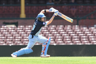 Smith bats for Sutherland during the Kingsgrove Cup T20 Cup finals at the SCG in December.