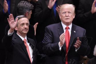 Donald Trump, pictured with pastor Robert Jeffress in 2017.