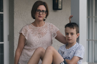 Louise Kuchel from Parents for ADHD Advocacy Australia and her son Liam, who has ADHD, at their Balgowlah home.