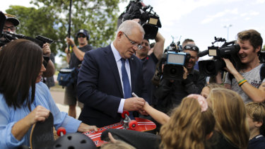 Scott Morrison on the campaign trail on the NSW Central Coast on Sunday.