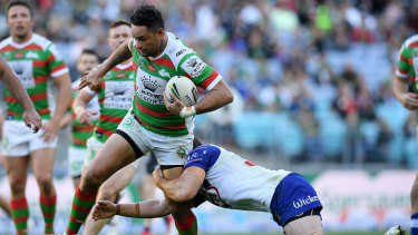 'Legend': John Sutton on the loose against Canterbury.