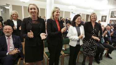 Melissa McIntosh, Sarah Richards, Angie Bell, Gladys Liu and Bridget Archer are welcomed in the party room meeting.