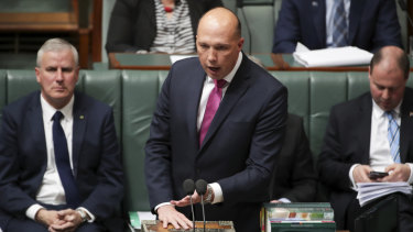 Home Affairs Minister Peter Dutton in Question Time on Thursday after introducing a bill to expand the interception powers of federal and state law enforcement agencies.