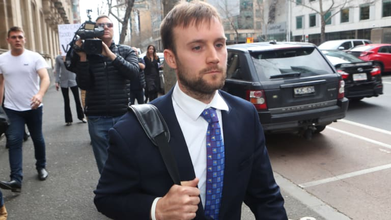 Andrew Nolch leaves court on Thursday afternoon.