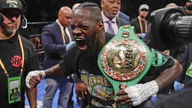 Deontay Wilder celebrates his win.