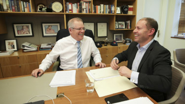 Prime Minister Scott Morrison and Treasurer Josh Frydenberg during a meeting at Parliament House.