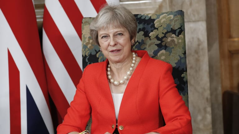 British Prime Minister Theresa May during a meeting with President Donald Trump at Chequers, on Friday, July 13.