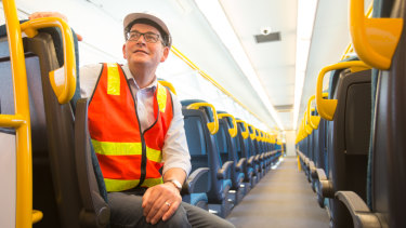 Premier Daniel Andrews  on board a new VLocity train in Dandenong on Monday.