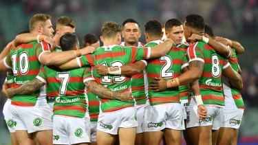Solidarity:  Souths and Roosters players observed a minute's silence at the SCG on Friday night.