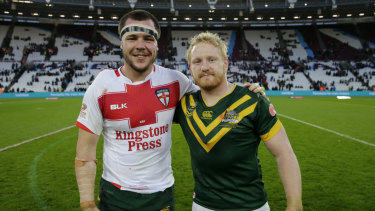Mates – off the field: David Klemmer and James Graham after they clashed in London in 2016.