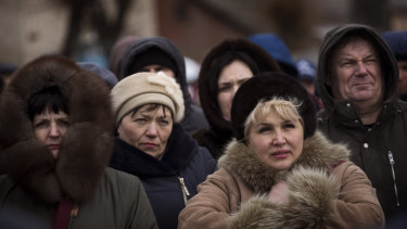 Supporters of Petro Poroshenko gather during an election campaign rally in Khmilnyk on Wednesday.