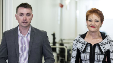 Pauline Hanson's chief-of staff James Ashby, pictured left, has been caught meeting with the US gun lobby in secret recordings.