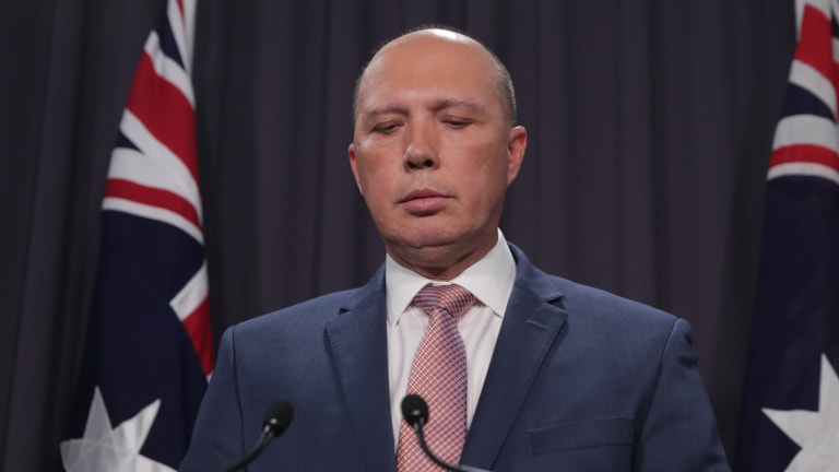 Failed leadership contender Peter Dutton at Parliament House on Wednesday.