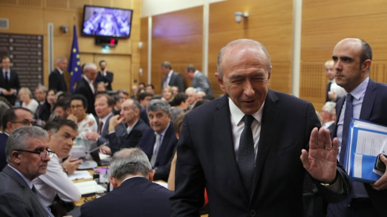 French Interior Minister Gerard Collomb, at a hearing with the deputies of the Laws Commission concerning the case of Macron's security aide Alexandre Benalla, at the National Assembly in Paris on Monday.
