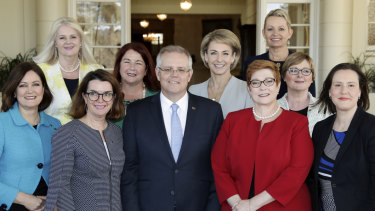 The female members of Scott Morrison's ministry at his swearing in.