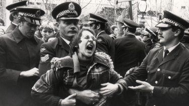 A protester outside court on June 26, 1978.
