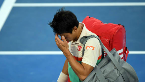 Kei Nishikori from his quarter-final clash with Novak Djokovic with an upper-leg complaint.